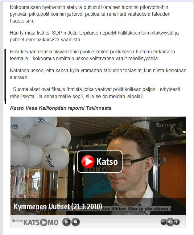 Kokoomuksen Jyrki Katainen - Hyvinvointi, talous ja rehellisyys
