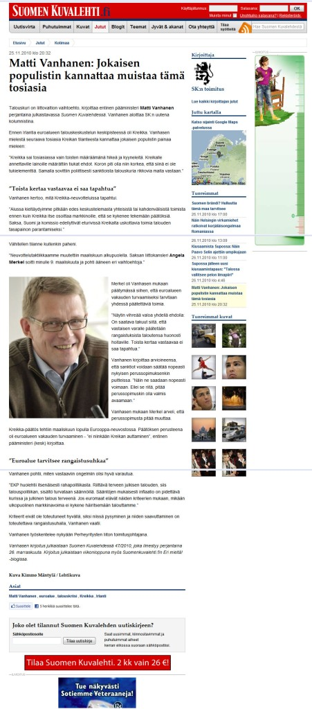 Populistikortti ja Matti Vanhanen