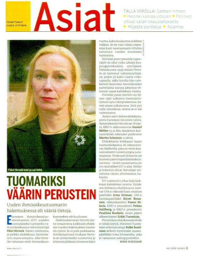 Päivi Hirvelä Suomen ihmisoikeustuomariksi väärin perustein