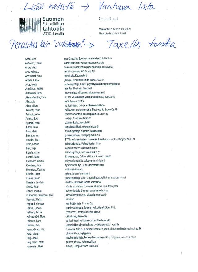 Vanhasen lista_sivu 1_Suomen EU-politiikan tahtotila 2010-luvulla_02022009