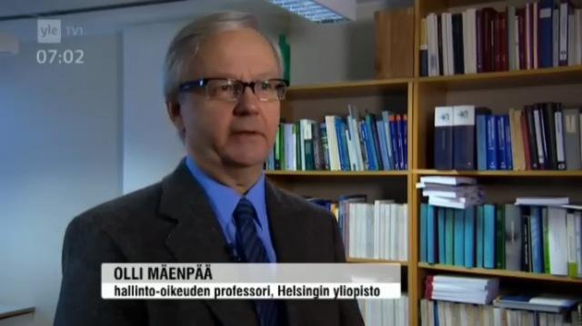 Helsingin yliopisto Olli Mäenpää, hallinto-oikeuden professori. Lähde: Yle uutiset