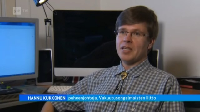 Hannu Kukkonen, Vakuutusongelmaisten liitto ry, puheenjohtaja. Lähde: A-studio 4.2.2013