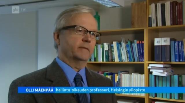 Olli Mäenpää, Helsingin yliopisto, hallinto-oikeuden professori. Lähde: A-studio 4.2.2013