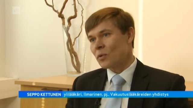 Seppo Kettunen, vakuutusylilääkäri Ilmarinen, puheenjohtaja Vakuutuslääkäreiden yhdistys. Lähde: A-studio 4.2.2013