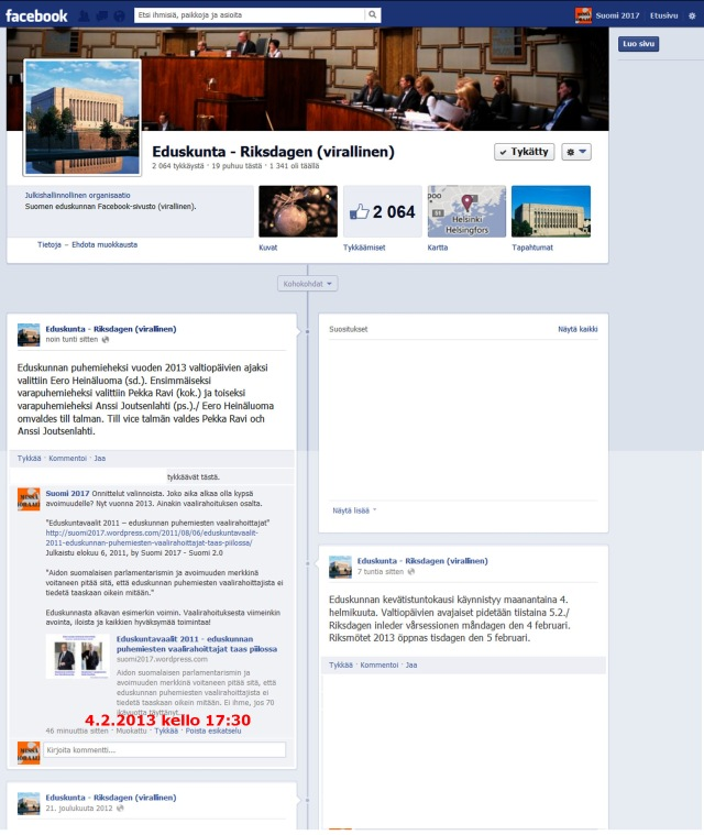 Eduskunnan virallisella Facebook - ryhmällä jo 2064 tykkäystä!