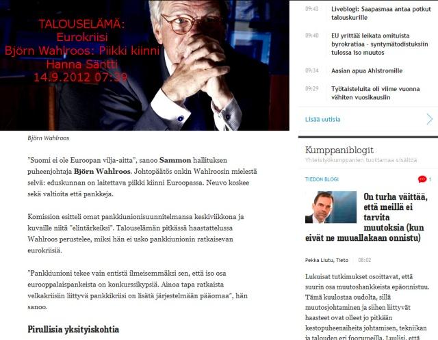 Björn Wahlroos perusuomalaisten linjoilla!