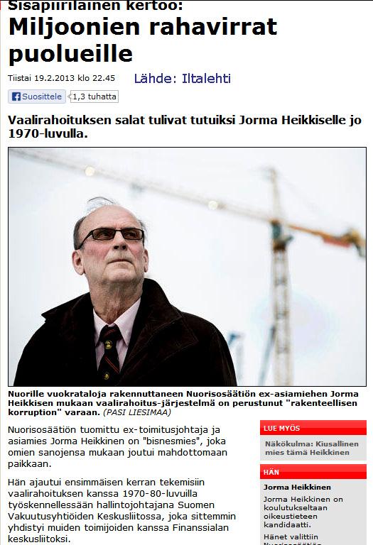 """Iltalehti 19.2.2013 """"Kiusallinen mies tämä Heikkinen."""""""