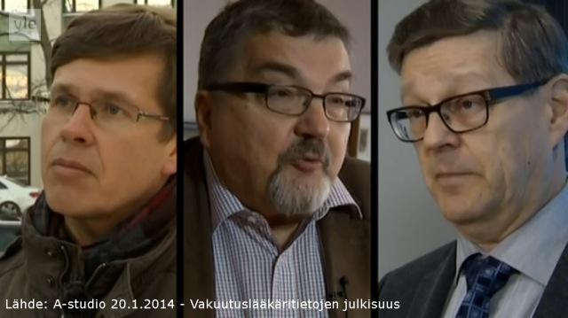 Oikeutta vakuutetuille ry:n puheenjohtaja Hannu Kukkonen, Suomen lääkäriliiton varatoiminnanjohtaja Risto Ihalainen, Eläkeyhtiö Varman vakuutusylilääkäri Jukka Kivekäs.