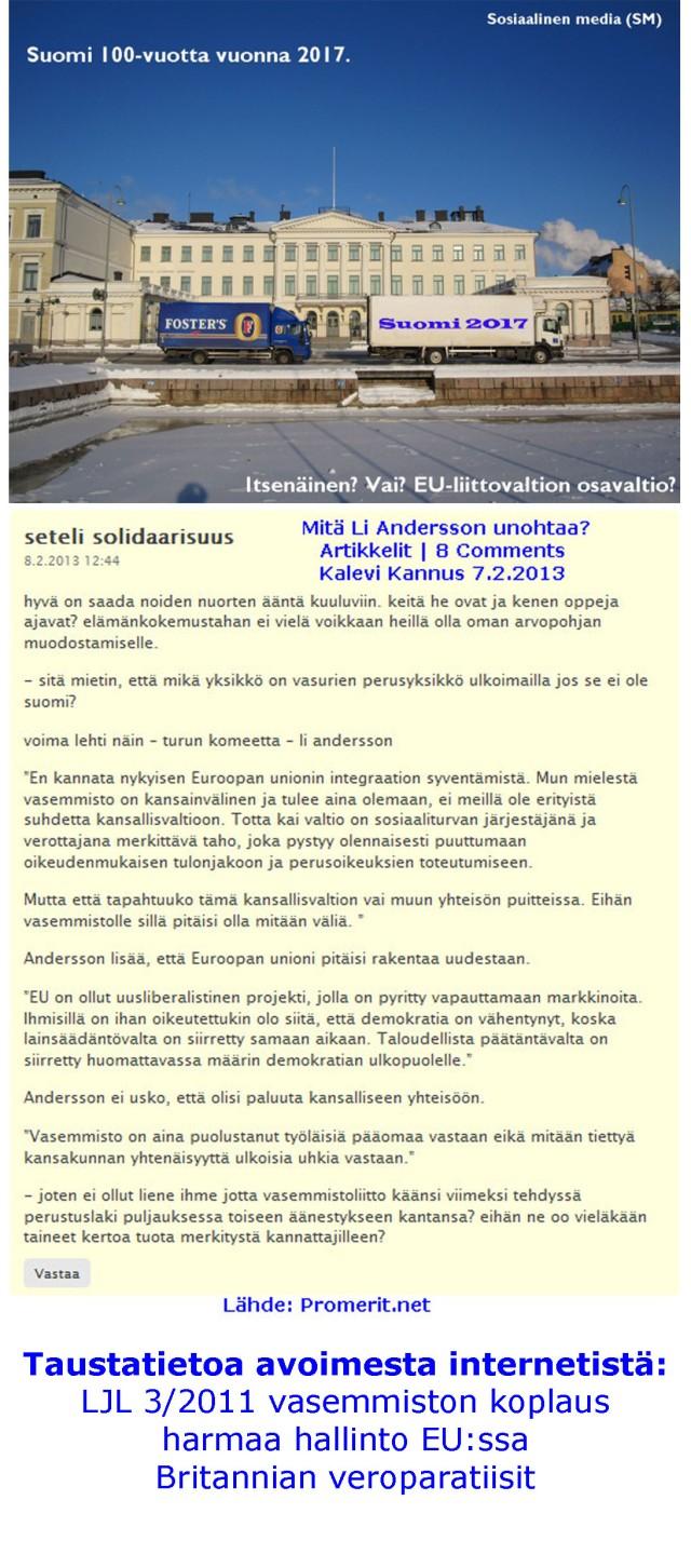 Vasemmistoliitto ajamassa kansallisvaltio Suomen alas?