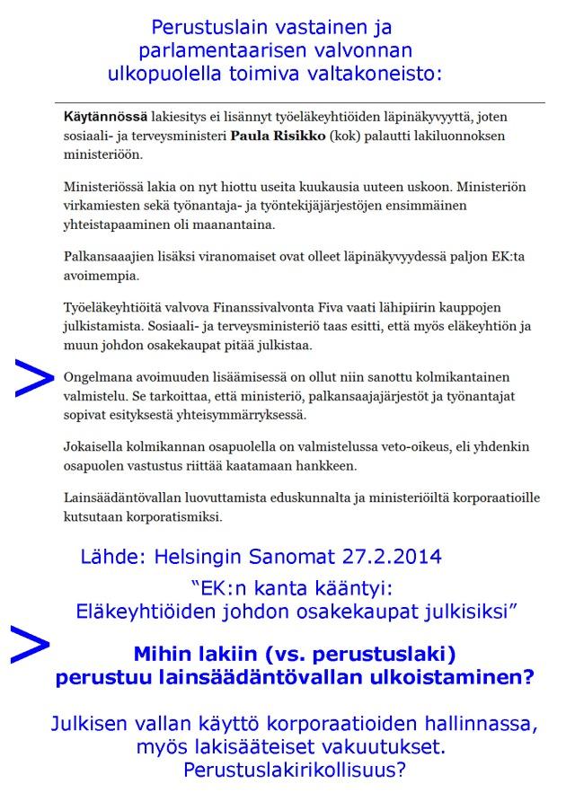 Ydinkysymyksinä: 1. Kenellä todellinen lainsäädäntövalta Suomessa on? 2. Mihin lakiin perustuen? 3. Saavatko lainsäädäntövaltaa käyttävät organisaatiot ja sen jäsenet käyttää myös toimeenpano- ja tuomiovaltaa?