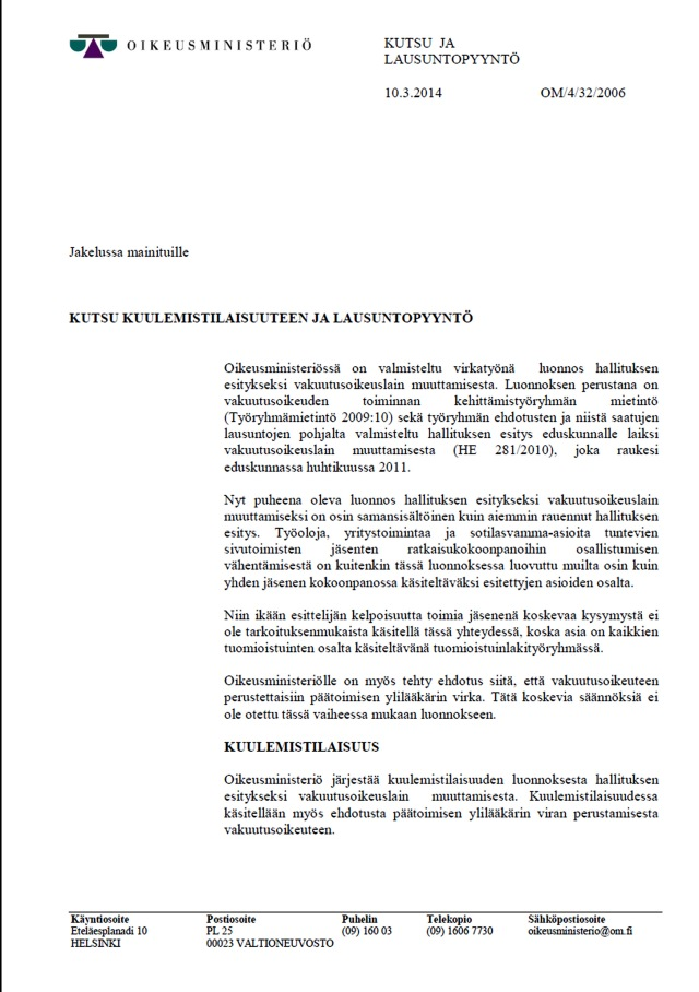 Kuulemistilaisuus kutsutuille oikeusministeriössä 27.4.2014.