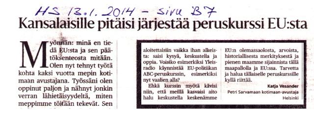 Kokoomuksen mepin, Petri Sarvamaan, kotimaan avustajan Katja Vesanderin kirjoitus.