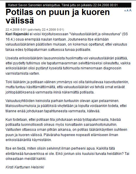 """Kansanedustaja Kari Rajamäki/sd - """"Potilas on puun ja kuoren välissä"""""""
