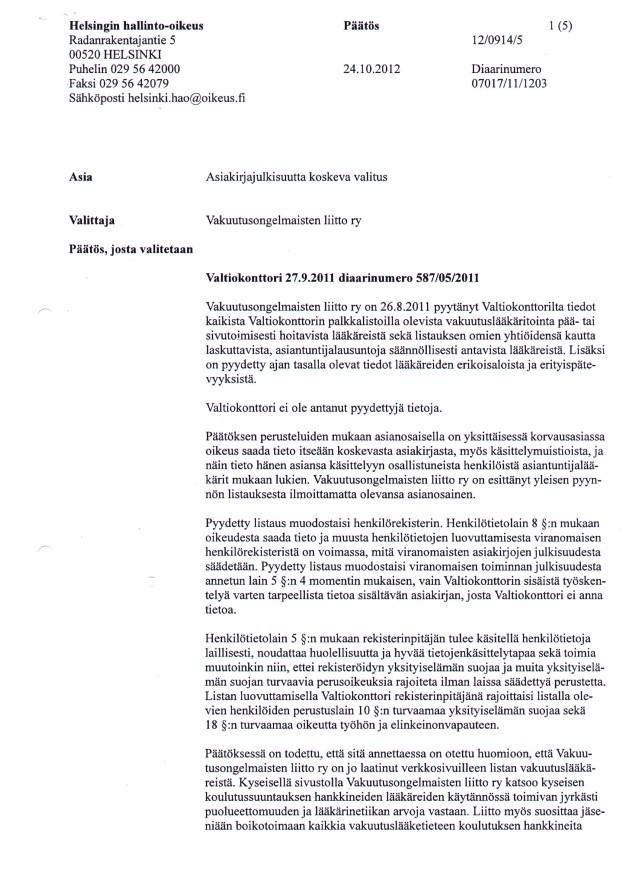 Hho:n päätös - Valtiokonttorin vakuutuslääkäritietojen julkisuus sivu 1