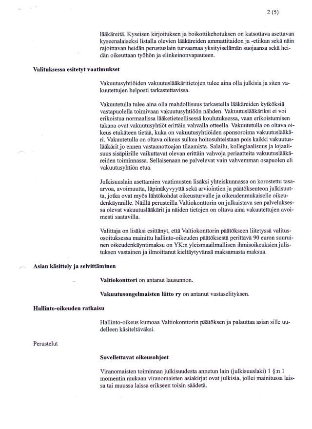 Hho:n päätös - Valtiokonttorin vakuutuslääkäritietojen julkisuus sivu 2