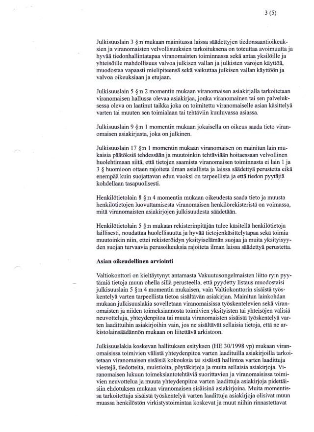 Hho:n päätös - Valtiokonttorin vakuutuslääkäritietojen julkisuus sivu 3