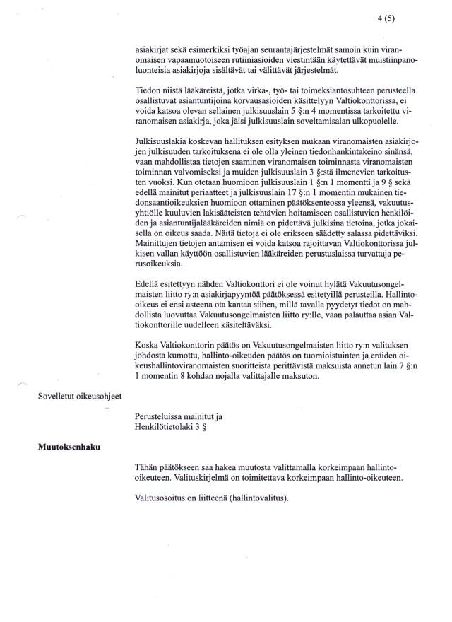 Hho:n päätös - Valtiokonttorin vakuutuslääkäritietojen julkisuus sivu 4