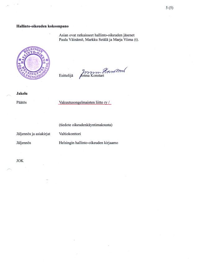 Hho:n päätös - Valtiokonttorin vakuutuslääkäritietojen julkisuus sivu 5