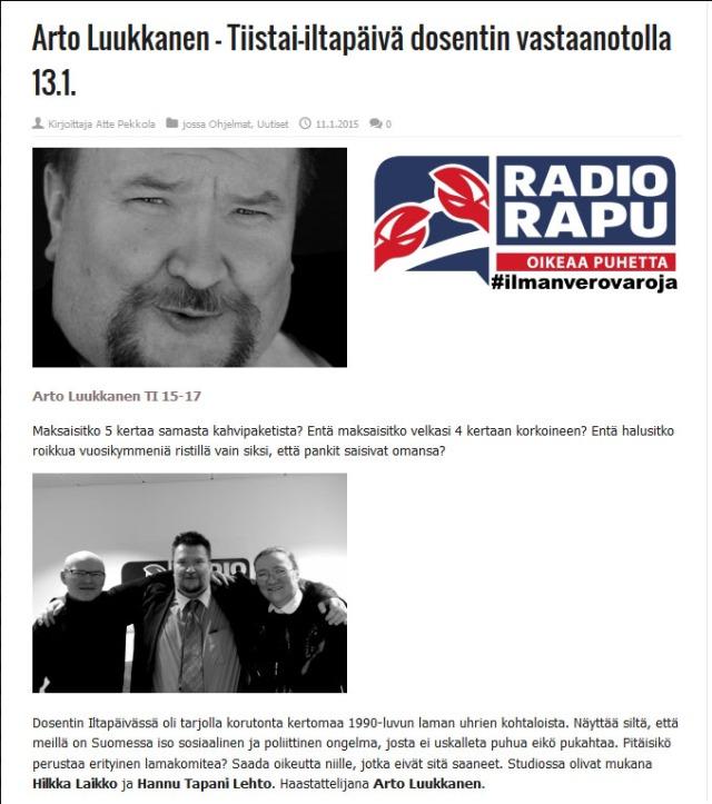 Radio Rapu on tervetullut kilpailija Yle Puheelle.