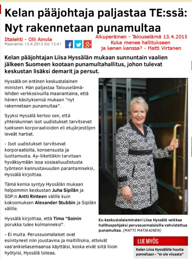 Pääjohtaja Hyssälän näkemys on vastakkainen Mauri Pekkarisen ulostulojen kanssa.