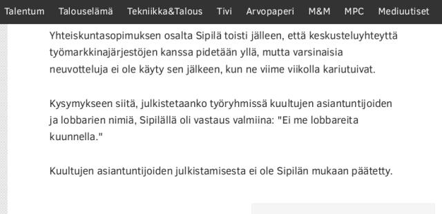 Lähde: Talouselämä 15.5.2015 - Sipilä: Juustohöylän sijaan rohkeita uudistuksia