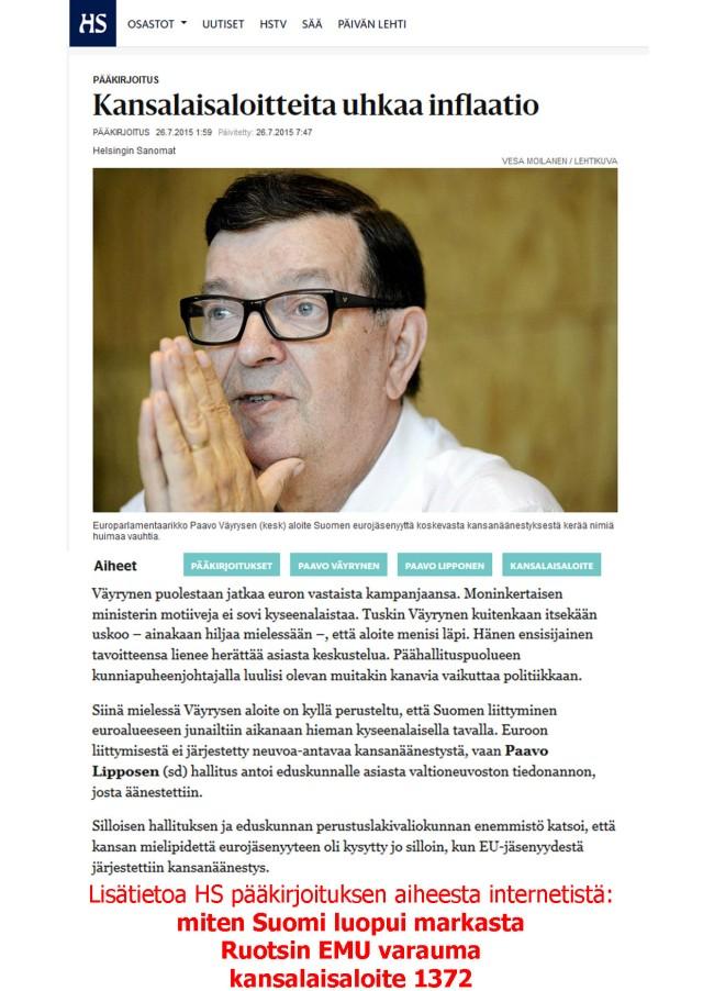 Saako Paavo Väyrynen kansalaisaloitteelleen kannatusta? Yli puolue-, media- ja aaterajojen.