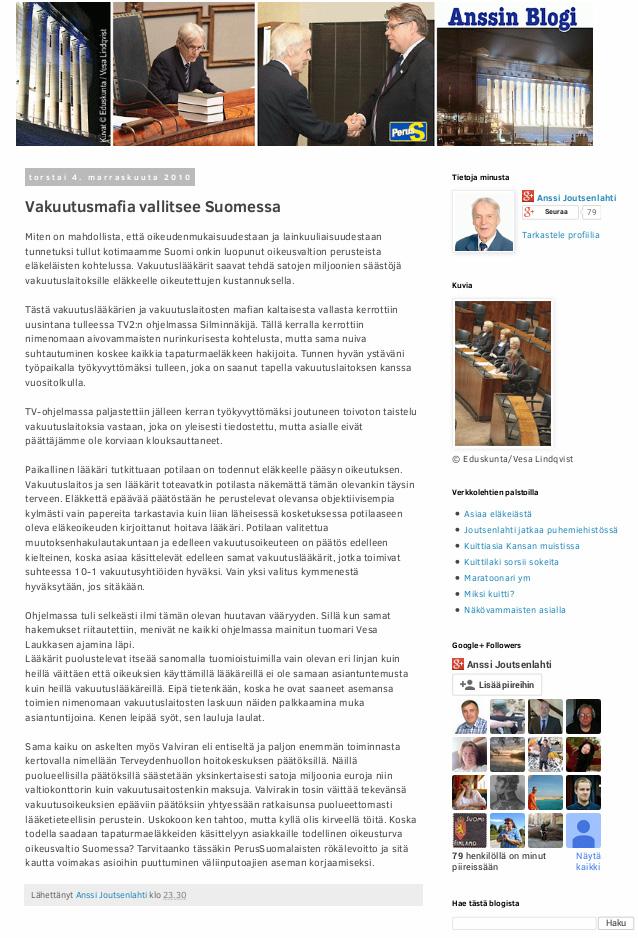Erittäin pienelle jäänyt kirjoitus myös Uusi Suomi puheenvuorossa.