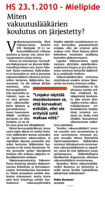 Helsingin Sanomat 23.1.2010 - Miten vakuutuslääkärien koulutus on järjestetty?