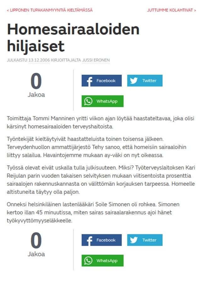 Joko vuoden 2006 jälkeen Sari Sairaanhoitaja ja Kiti Kätilö uskaltavat avata suunsa?