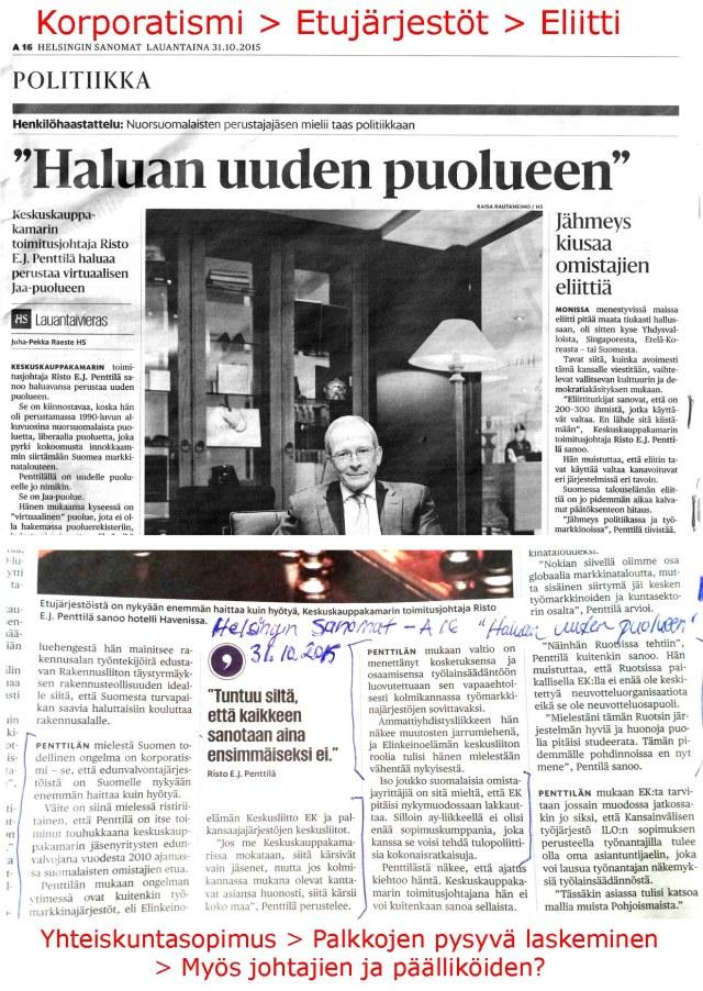 """Erittäin pienellle huomiolle jäänyt """"Haluan uuden puolueen"""" Lauantaivieras - artikkeli HS 31.10.2015"""