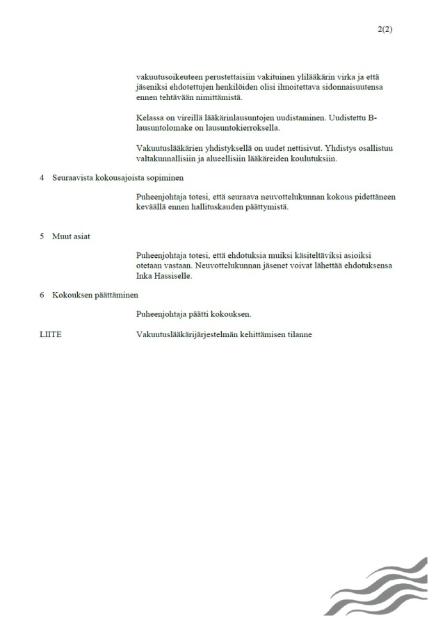 Neuvottelukunnan ainoan kokouksen pöytäkirjan sivu 2.