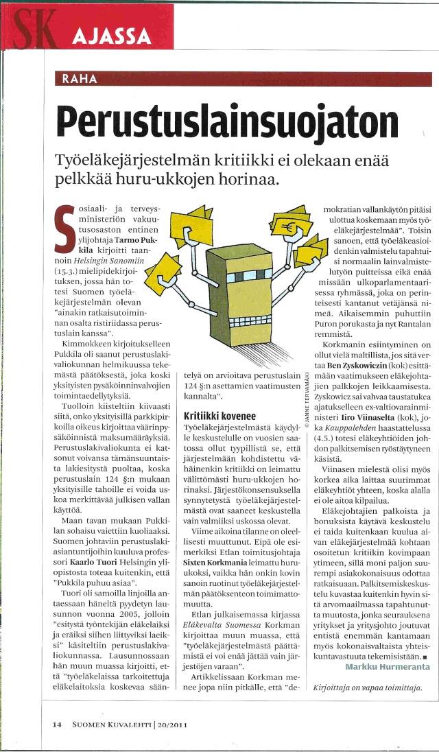 Hyvin pienelle huomiolle jäänyt SK - artikkeli vuodelta 2011.
