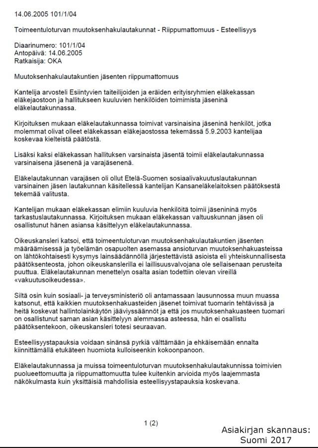Oikeuskanslerin virasto 14.06.2005 101/1/04 sivu 1 (2)