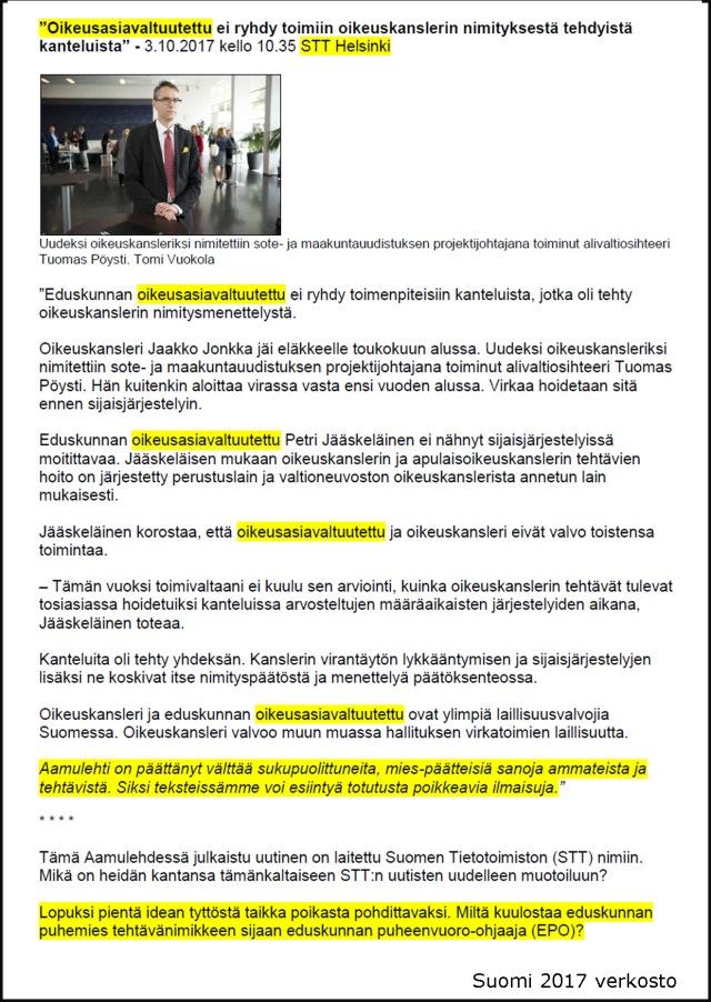 Oikeusasiavaltuutettu ei ryhdy toimiin oikeuskanslerin nimityksestä tehdyistä kanteluista_A6 kooste_Kehys musta_Aamulehti 03102017_STT_Eduskunnan oikeusasiamies